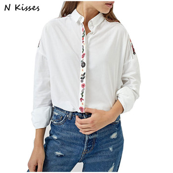 Nkisses 2017 Autumn Women Fashion Blouse Long Sleeve Ladies White Embroidery Flower Elegant Turn-down Collar Shirt Girl Vestidos