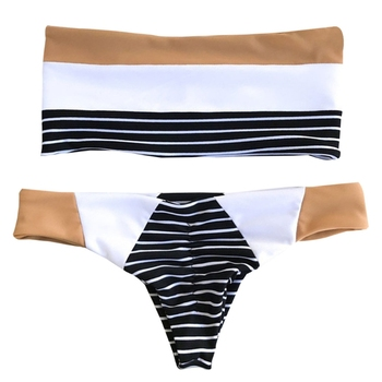 Kadın Straplez Push Up Bandaj Sütyen Thongs Set Mayo